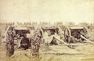 Empire of Brazil - Brazilian artillery in position during the Paraguayan War, 1866