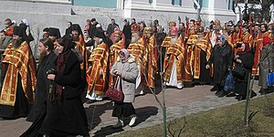 Bright Week - Priests in the Bright Week procession during (The Trinity Lavra, in Sergiyev Posad, Russia).