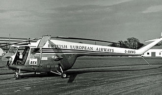 Timeline of Gatwick Airport - BEA Bristol Sycamore helicopter at its Gatwick base in 1955.
