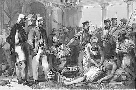 British soldiers looting Qaisar Bagh, Lucknow, after its recapture (steel engraving, late 1850s) - Indian Rebellion of 1857