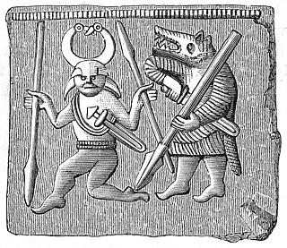 Berserker Old Norse warriors fighting in a trance-like fury