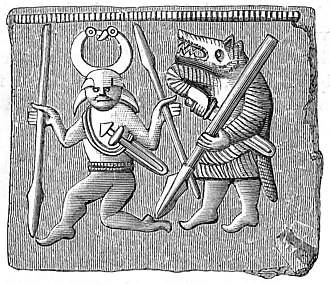 Werewolf - Vendel period depiction of a warrior wearing a wolf-skin (Tierkrieger)