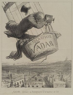 "Nadar (photographer) - ""Nadar élevant la Photographie à la hauteur de l'Art"" (Nadar elevating Photography to Art). Lithograph by Honoré Daumier, appearing in Le Boulevard, May 25, 1863"