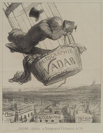 "Aerial photography - Honoré Daumier, ""Nadar élevant la Photographie à la hauteur de l'Art"" (Nadar elevating Photography to Art), published in Le Boulevard, May 25, 1862."