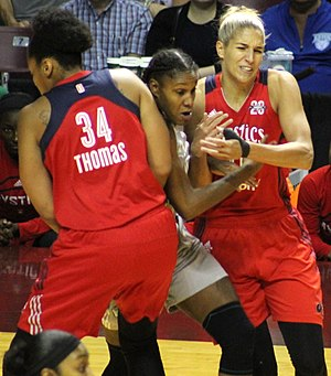 Rebekkah Brunson - Brunson evading Krystal Thomas and Elena Delle Donne in the 2017 WNBA playoffs