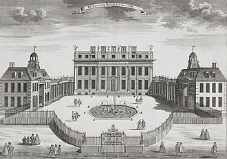 Buckingham House, c. 1710, was designed by William Winde for the 1st Duke of Buckingham and Normanby. This facade evolved into today's Grand Entrance on the west (inner) side of the quadrangle, with the Green Drawing Room above it. Buckingham House 1710.jpeg
