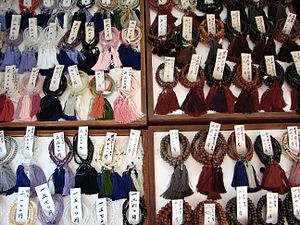 Buddhist prayer beads - Buddhist prayer beads at a Jodo Shin shop.