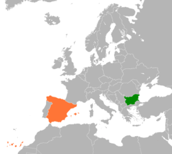 Map indicating locations of Bulgaria and Spain