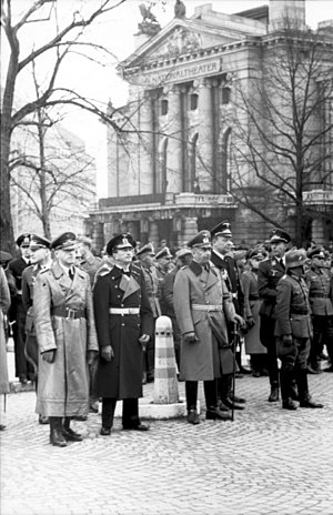 German occupation of Norway - German officers in front of the National Theatre in Oslo, 1940