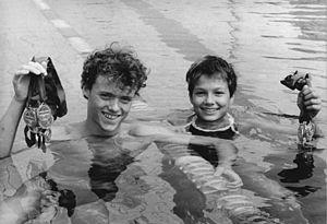Franziska van Almsick - Jörg Hoffmann together with Franziska van Almsick (just 11 years old) at the Spartakiad in 1989