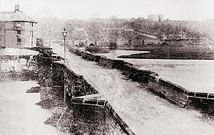 Battle of Burton Bridge (1322) - A Victorian photograph of the medieval Burton Bridge