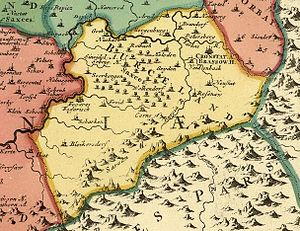 Burzenland - Map of Burzenland from the first half of the 18th century. Brașov appears as Cronstadt/Brassow