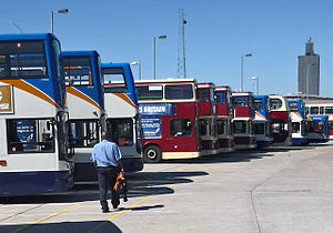 Bus deregulation in Great Britain - Stagecoach in Hull and East Yorkshire Motor Services buses at Hull Paragon Interchange in May 2009