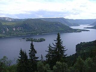 Byglandsfjorden lake in Bygland and Evje og Hornnes, Aust-Agder, Norway