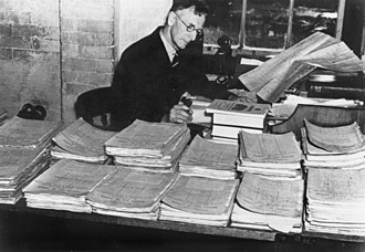 Charles Bean - Bean studying Army documents while working on the official history in 1935