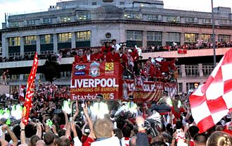 2005 UEFA Champions League Final - The Liverpool team parading the Champions League trophy in Liverpool city centre after their victory.