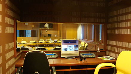 Interpreting booth ready for an ILO meeting Cab 10.JPG