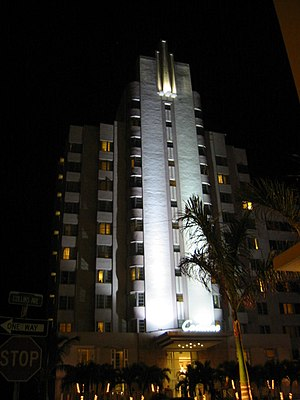 Courtyard Cadillac Miami Beach Hotel (Florida) - The Cadillac Hotel at night.