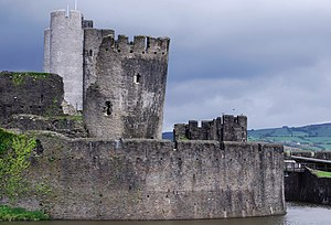 Caerphilly Castle - The South-East tower, leaning at an angle, probably due to subsidence