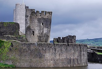 Despenser War - Caerphilly Castle, one of the Despenser properties Roger Mortimer seized in May 1321
