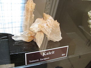 Geography of Bosnia and Herzegovina -  Calcite Crystal found at Trebević mountain around Sarajevo; Bosnia and Herzegovina on display at National Museum of Bosnia and Herzegovina.