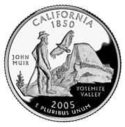 John Muir appears on the California quarter