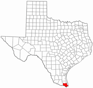 National Register of Historic Places listings in Cameron County, Texas - Location of Cameron County in Texas