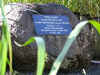 Camp Mountain rail accident - Memorial cairn to commemorate the Camp Mountain train disaster