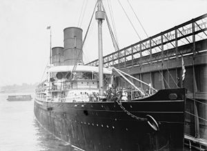 RMS Campania - Campania at the Cunard Pier in New York.