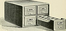 "Card catalog from page 167 of ""Manual of library classification and shelf arrangement"" (1898).jpg"