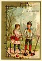 Card depicting two children playing croquet (14058888679).jpg