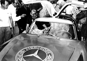 Bird strike - Mercedes-Benz 300SL sports car following the impact of a vulture to the windscreen at the 1952 Carrera Panamericana