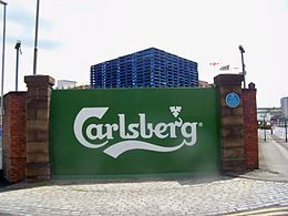 Carslberg logo at the Tetley's brewery, Leeds (24th June 2010).jpg