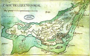 "West Island - A map of the Island of Montreal made in the 1700s. The words ""Pointe Claire"" are visible."