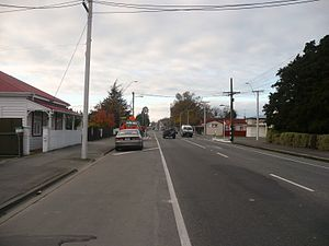 New Zealand State Highway 2 - Looking north on SH 2 (High Street South) in Carterton,  80 km (50 mi) from its terminus near Wellington.
