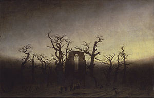 תוצאת תמונה עבור ‪Caspar David Friedrich , Abbey in the oak forest, 1809-10‬‏