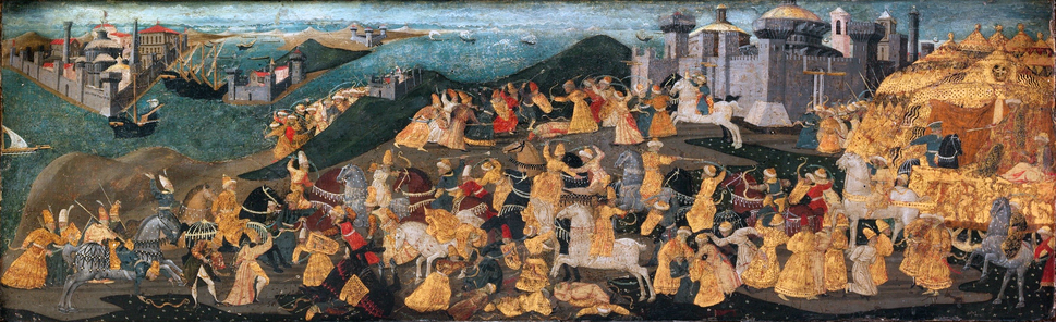 The Cassone with the 'Conquest of Trebizond' by Apollonio di Giovanni di Tomaso, on display at the Metropolitan Museum of Art in New York. Painted just after the fall of the city, it depicts Trabzon as being equal to Constantinople (at the far left). Even the battle displayed in between the two cities was mostly a fantasy. The city held a legendary place in Western-European literature and thought throughout the late medieval period and the renaissance, with a lasting influence that can be felt even to present times.