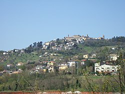 Castelplanio (upon the hill) with its major frazione, Macine, in the foreground