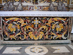 Opificio delle pietre dure - Altar decorated in commesso, (Cathedral of the Assumption of the Virgin Mary (Velika Gospa), Dubrovnik)