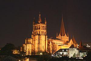 Cathédrale de Lausanne de nuit, février 2006