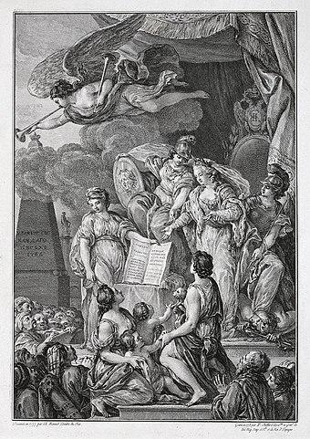 П. Шоффар по рисунку Ш. Моне. Аллегория на императрицу Екатерину II с текстом «Наказа», Франция, 1778