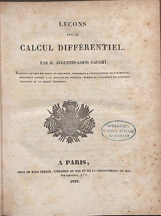 Augustin-Louis Cauchy - Leçons sur le calcul différentiel, 1829