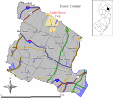 Map of Cedar Grove Township in Essex County. Inset: Location of Essex County in the State of New Jersey.