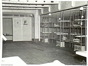 """Inside of a medical ward aboard a ship: Bunk beds line the right side, other furnishings protrude into the bottom edge of the photograph, but apart from these, the room is empty. A door at the far end of the room has the text """"F WARD"""" painted on it."""