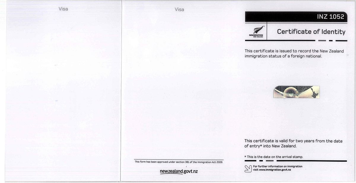 New Zealand Certificate Of Identity Wikipedia