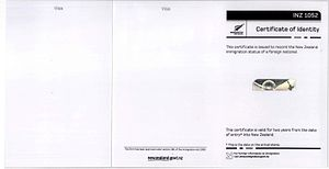 New Zealand Certificate of Identity