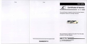 New Zealand Certificate of Identity - Image: Certificate of Identity issued by New Zealand