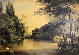 Vue du pont suspendu du parc de Neuilly