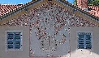 fresque et cadran solaire du château de la Sathonette