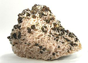 Dolomite - Dolomite with chalcopyrite from the Tri-state district, Cherokee County, Kansas (size: 11.4×7.2×4.6 cm)